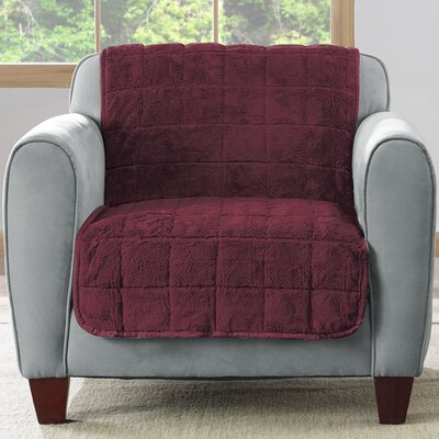 Faux Fur Quilted Armchair Slipcover Upholstery: Sangria