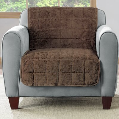 Faux Fur Quilted Armchair Slipcover Upholstery: Chocolate