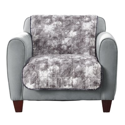 Faux Fur Quilted Box Cushion Armchair Slipcover