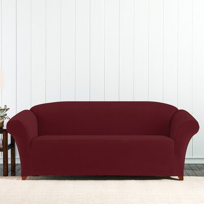 Stretch Pixel Box Cushion Sofa Slipcover Upholstery: Burgundy