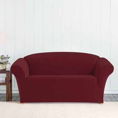 Stretch Pixel Box Cushion Loveseat Slipcover Upholstery: Burgundy