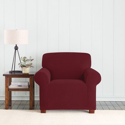 Stretch Pixel Box Cushion Armchair Slipcover Upholstery: Burgundy