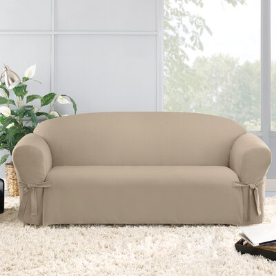 Cotton Duck Sofa Skirted Slipcover Upholstery: Linen