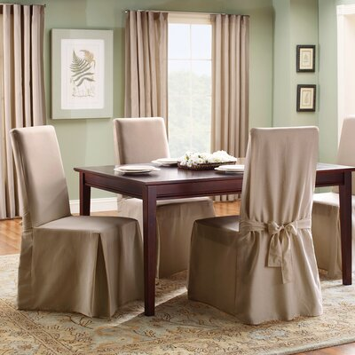 Cotton Duck Full Length Dining Room Chair Slipcover Upholstery: Linen