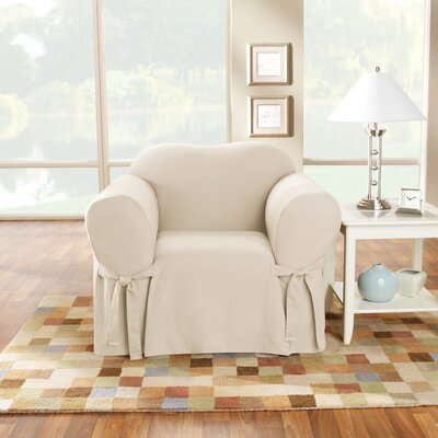 Cotton Duck Box Cushion Armchair Slipcover Upholstery: Natural