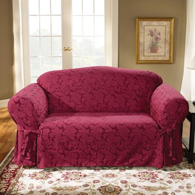 Scroll Classic Box Cushion Sofa Slipcover Upholstery: Burgundy