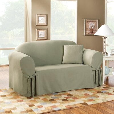 Cotton Duck Box Cushion Sofa Slipcover Upholstery: Sage