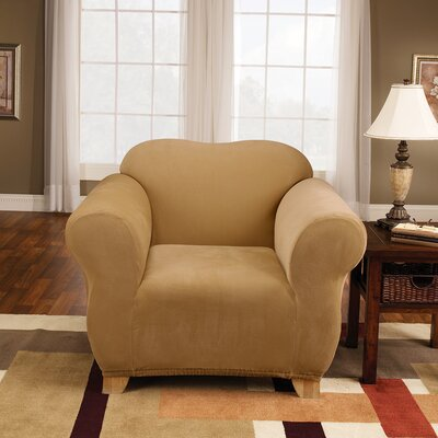 Stretch Pique Box Cushion Armchair Slipcover Upholstery: Antique