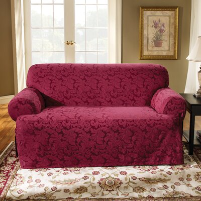 Scroll Classic Fit Sofa Slipcover Upholstery: Burgundy
