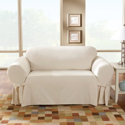 Cotton Duck Sofa Skirted Slipcover Upholstery: Natural