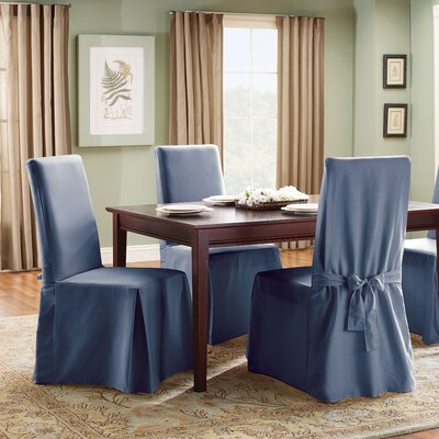 Cotton Duck Full Length Dining Room Chair Slipcover Upholstery: Bluestone