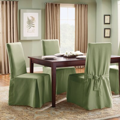 Cotton Duck Full Length Dining Room Chair Slipcover Upholstery: Sage