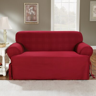 Cotton Duck Loveseat T-Cushion Slipcover Upholstery: Claret