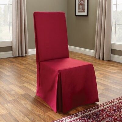 Cotton Duck Long Chair Slipcover Upholstery: Claret