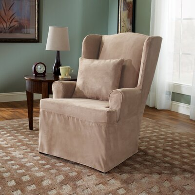 Soft Suede Wing Chair Slipcover Upholstery: Taupe