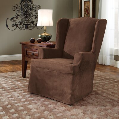 Soft Suede T-Cushion Wingback Slipcover Upholstery: Chocolate