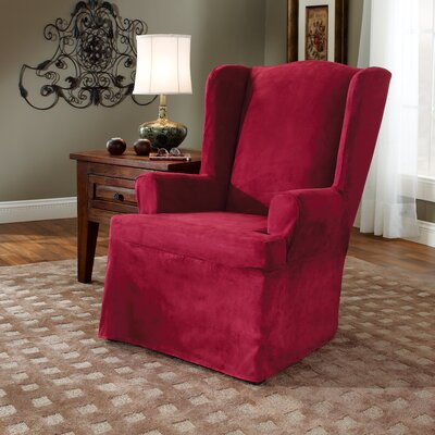 Soft Suede T-Cushion Wingback Slipcover Upholstery: Burgundy