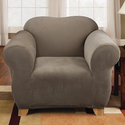 Stretch Pique Armchair Slipcover Upholstery: Taupe