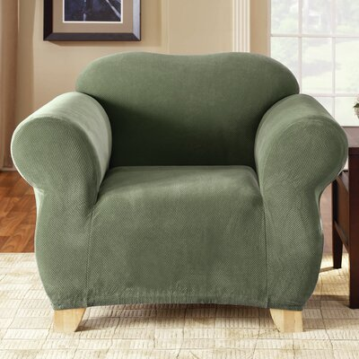 Stretch Pique Armchair Slipcover Upholstery: Sage
