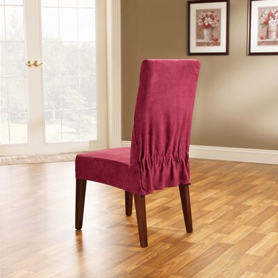 Soft Suede Dining Chair Slipcover Upholstery: Burgundy