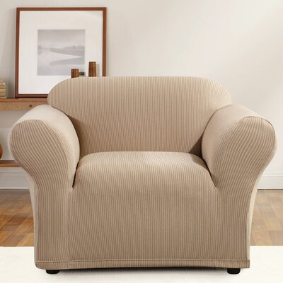 Simple Stripe Box Cushion Armchair Slipcover Upholstery: Linen