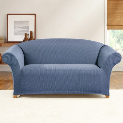 Simple Stretch Ticking Stripe Loveseat Slipcover Upholstery: Cadet Blue
