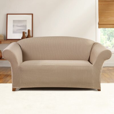 Simple Stretch Ticking Stripe Loveseat Slipcover Upholstery: Linen