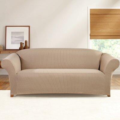 Simple Stretch Ticking Stripe Sofa Slipcover Upholstery: Linen