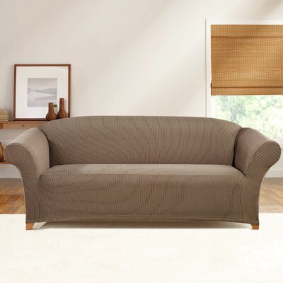 Simple Stretch Ticking Stripe Box Cushion Sofa Slipcover Upholstery: Chocolate