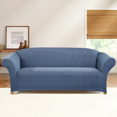 Simple Stretch Ticking Stripe Box Cushion Sofa Slipcover Upholstery: Cadet Blue