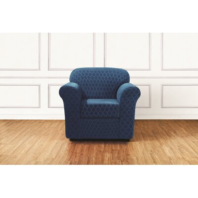 Stretch Grand Marrakesh Box Cushion Armchair Slipcover Upholstery: Nile Blue