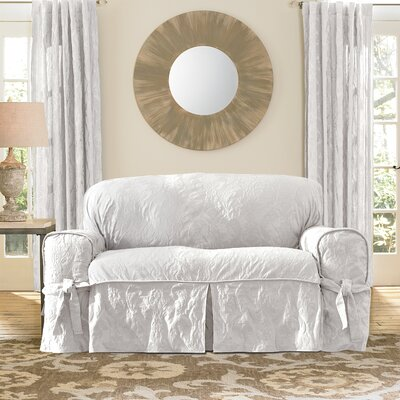 Matelasse Damask Box Cushion Loveseat Slipcover Upholstery: White