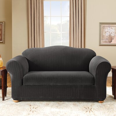 Stretch Pinstripe Box Cushion Loveseat Slipcover Upholstery: Black