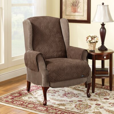 Soft Suede Recliner Slipcover Upholstery: Chocolate