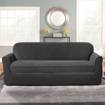 Stretch Pinstripe Box Cushion Sofa Slipcover Upholstery: Black