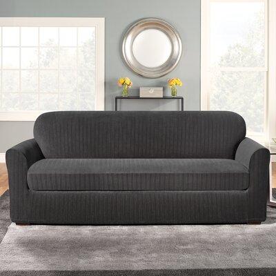Stretch Pinstripe Sofa Slipcover Upholstery: Black