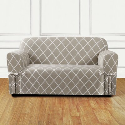 Lattice Box Cushion Loveseat Slipcover Upholstery: Earthy Tan