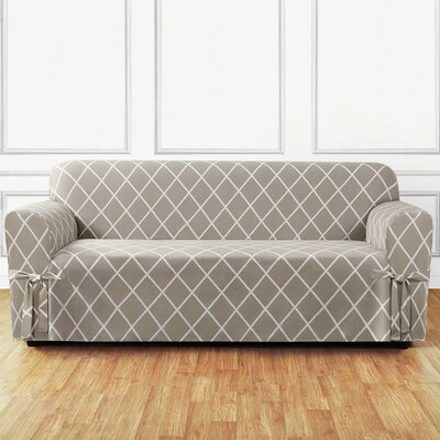 Lattice Box Cushion Sofa Slipcover Upholstery: Earthy Tan