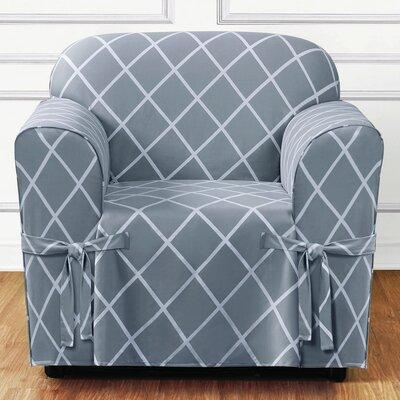 Lattice Box Cushion Armchair Slipcover Upholstery: Pacific Blue