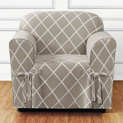 Lattice Box Cushion Armchair Slipcover Upholstery: Earthy Tan