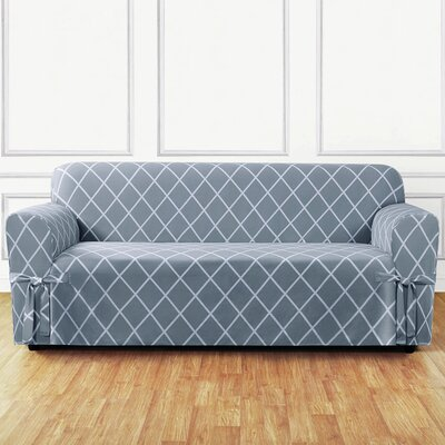 Lattice Sofa Slipcover Upholstery: Pacific Blue