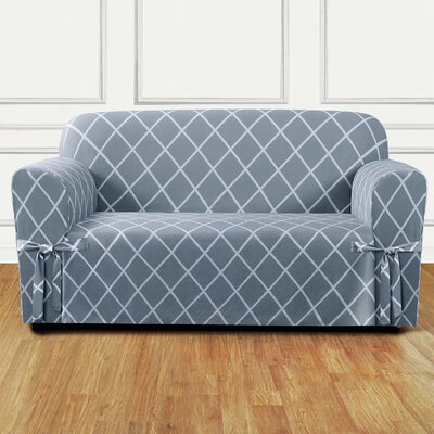 Lattice Box Cushion Loveseat Slipcover Upholstery: Pacific Blue
