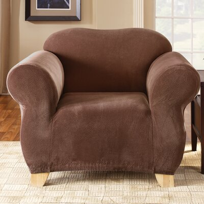 Stretch Pique Armchair Slipcover Upholstery: Chocolate