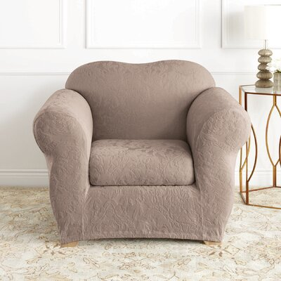 Stretch Jacquard Damask Box Cushion Armchair Slipcover Upholstery: Mushroom