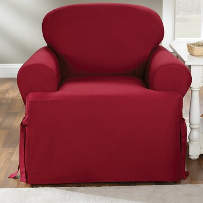 Cotton Duck T-Cushion Armchair Slipcover Upholstery: Claret