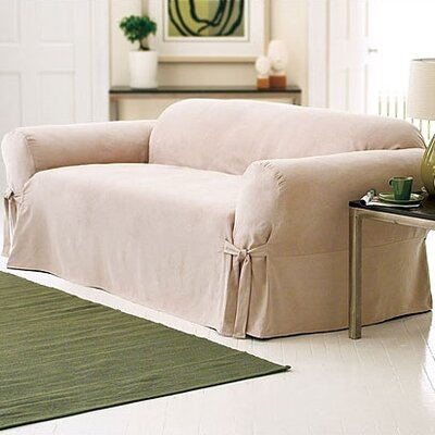 Soft Suede Sofa Slipcover Upholstery: Taupe