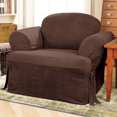 Soft Suede Armchair T-Cushion Slipcover Upholstery: Chocolate