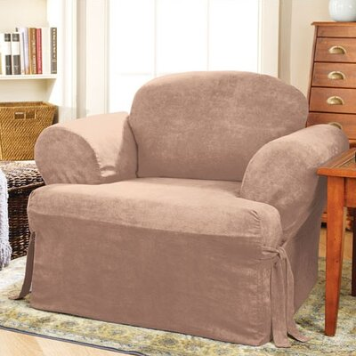 Soft Suede Armchair T-Cushion Slipcover Upholstery: Sable