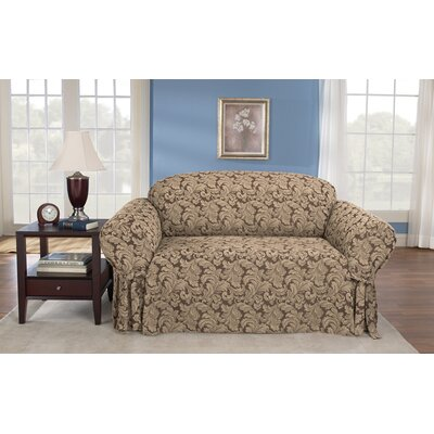 Scroll Classic Box Cushion Loveseat Slipcover Upholstery: Brown