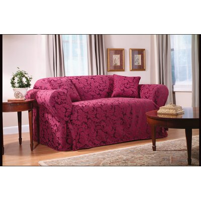 Scroll Classic Loveseat Skirted Slipcover Upholstery: Burgundy